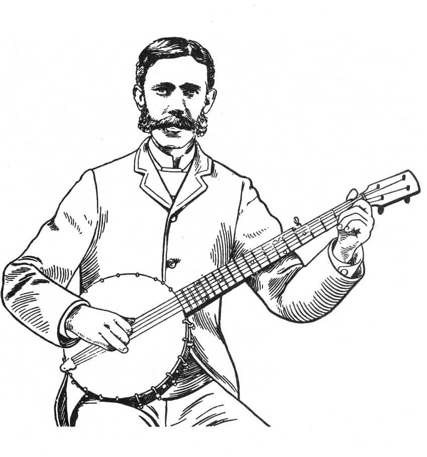 Раскраска банджо игрок