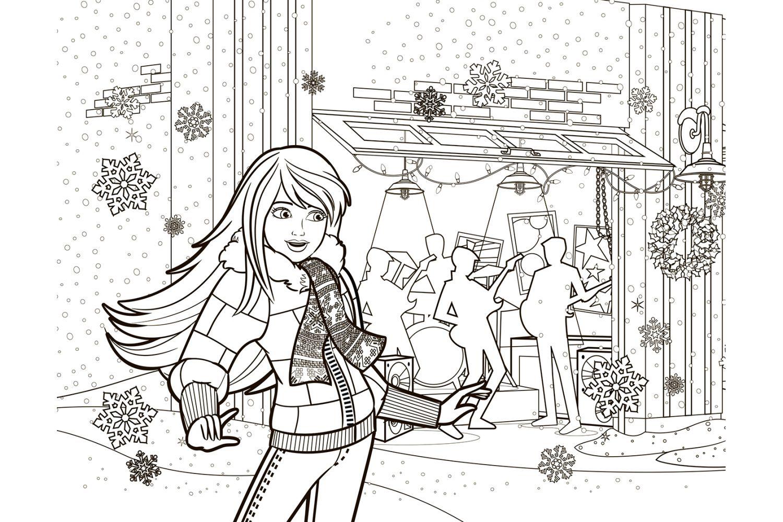 Раскраска Барби на Новый год