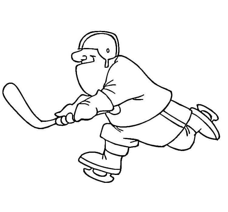Раскраска Бегущий хоккеист