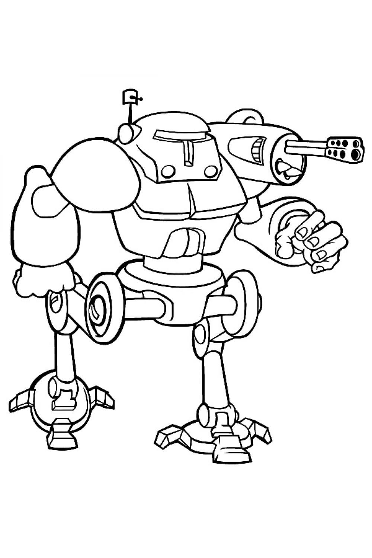 Раскраска Боевой робот с пушкой