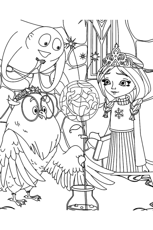 Раскраска Царевна Алёнка, Арчи и Сова