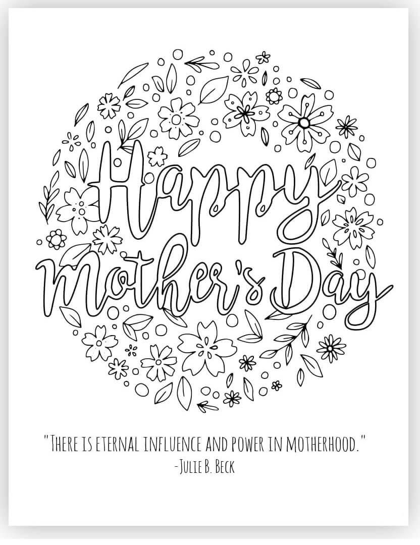 Раскраска День матери 4
