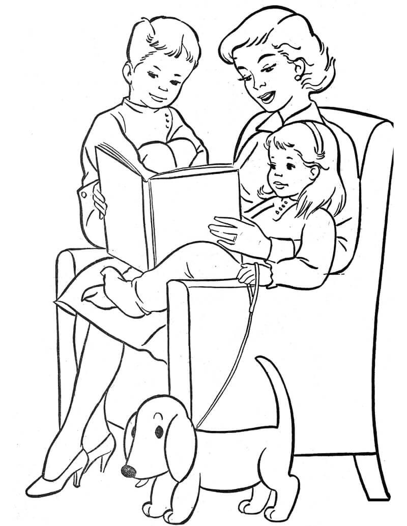 Раскраска День матери 5