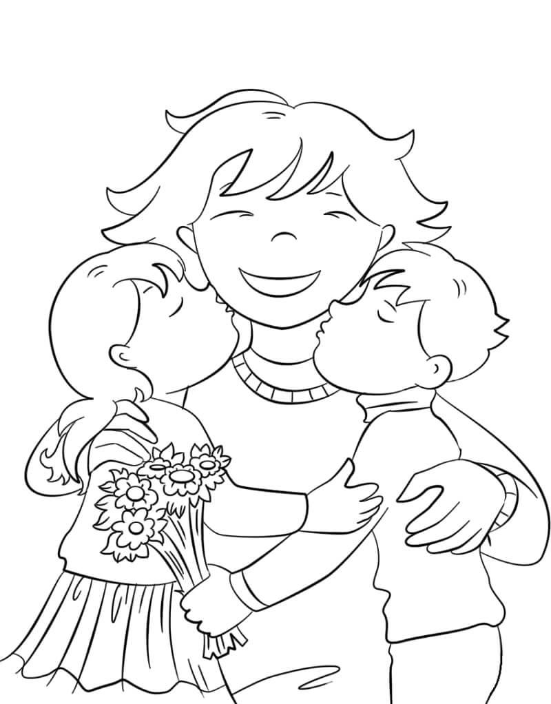 Раскраска День матери 7