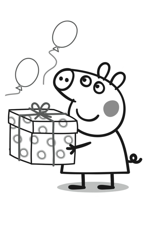Раскраска День рождения Пеппы