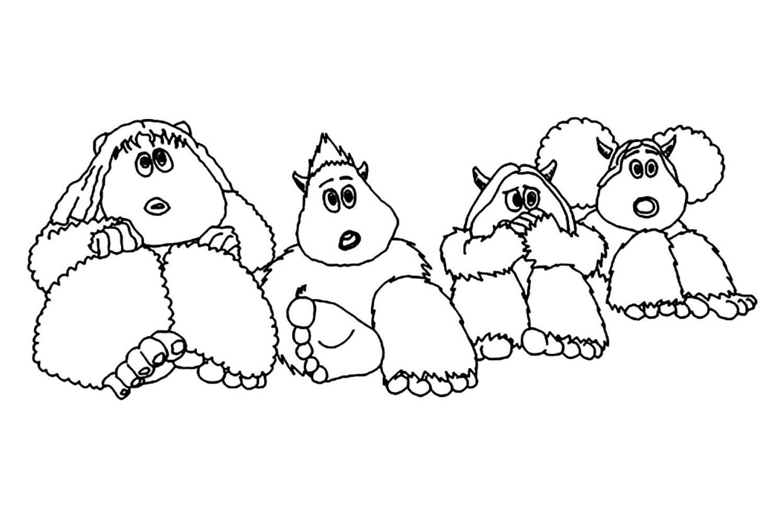 Раскраска Дети йети слушают страшилки про смолфутов