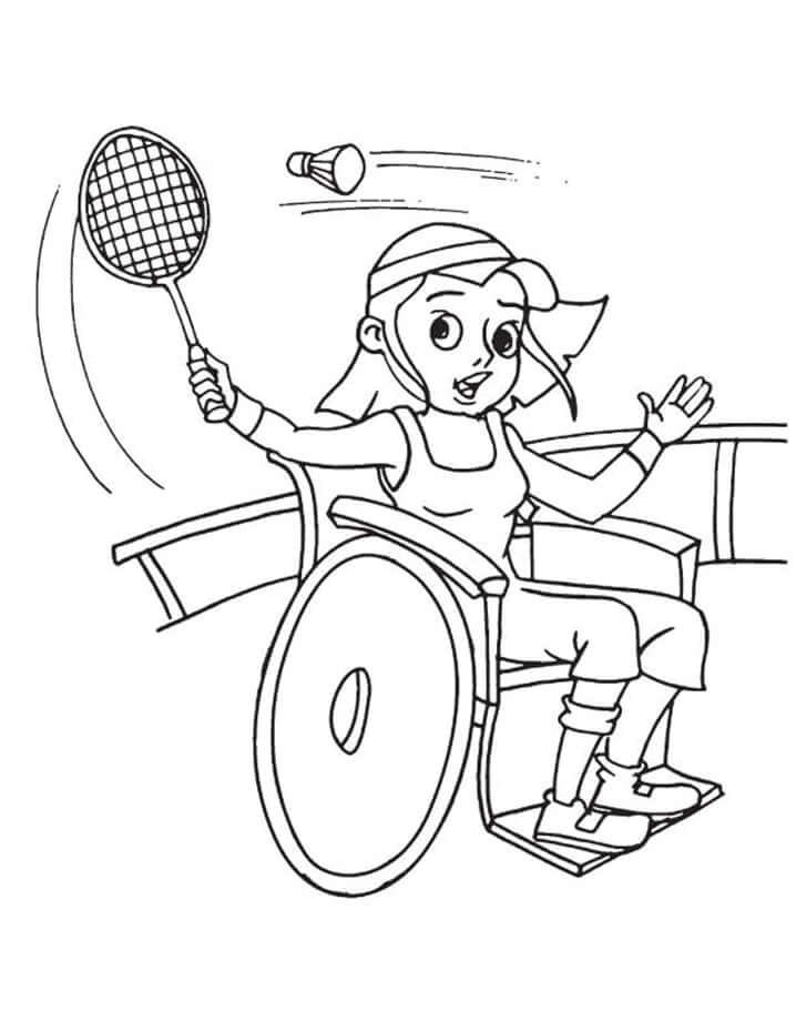 Раскраска девочка играет в бадминтон 1