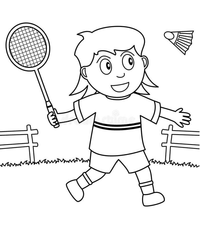 Раскраска девочка играет в бадминтон 2