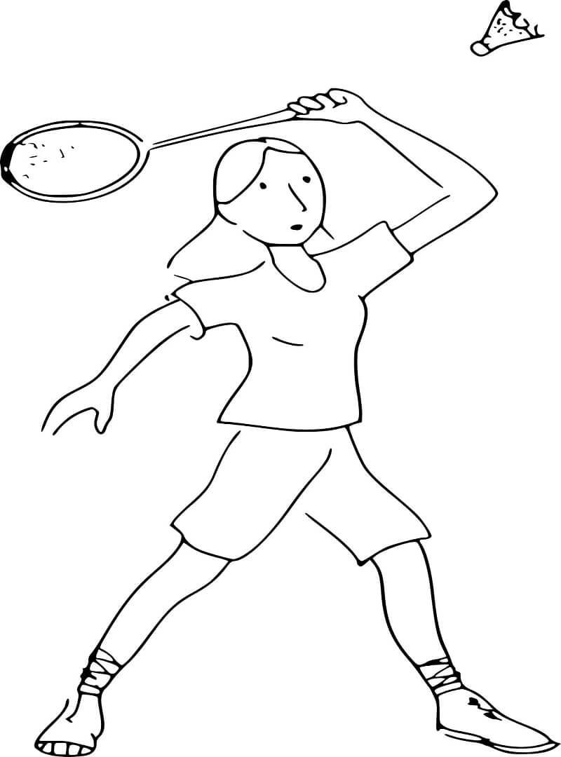 Раскраска девочка играет в бадминтон 3