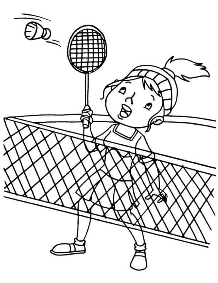Раскраска девочка играет в бадминтон 4