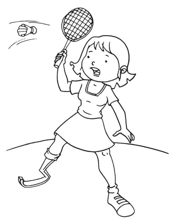 Раскраска девочка играет в бадминтон 5