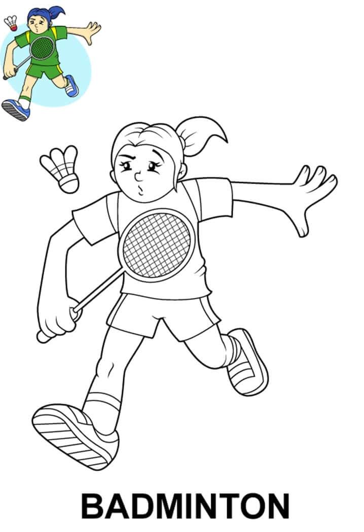 Раскраска девочка играет в бадминтон