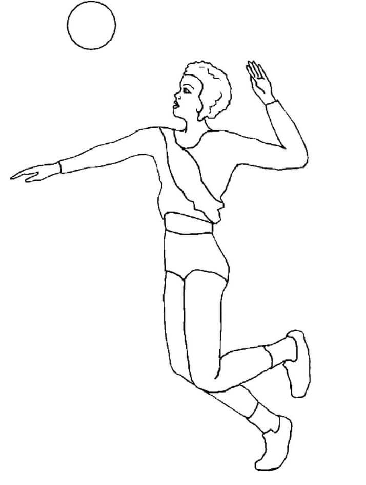 Раскраска девушка играет в волейбол 1