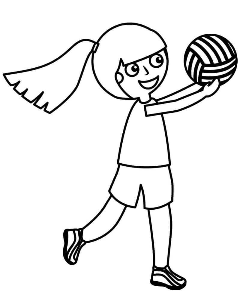 Раскраска девушка играет в волейбол 2