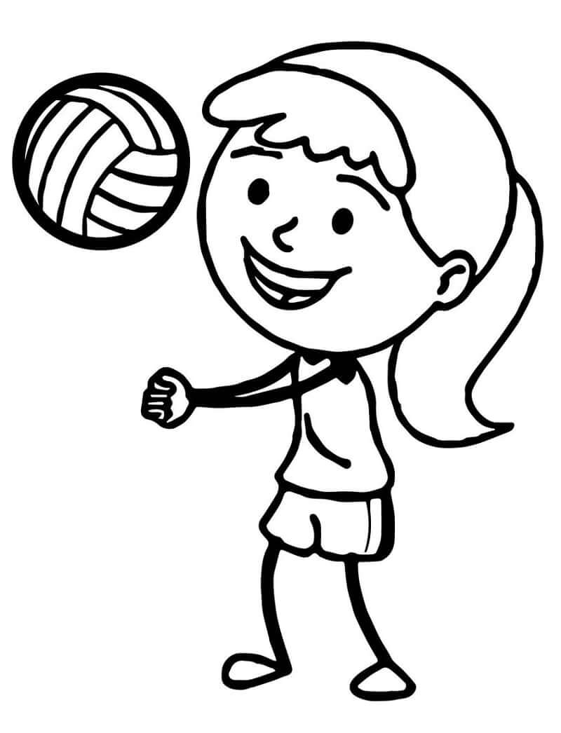 Раскраска девушка играет в волейбол 3