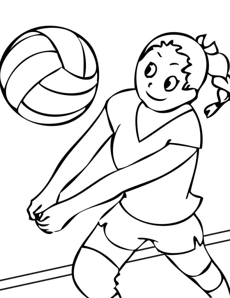 Раскраска девушка играет в волейбол 4