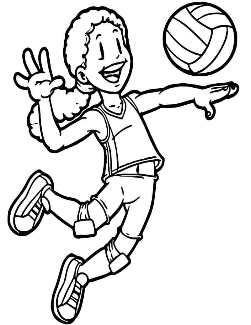 Раскраска девушка играет в волейбол 5