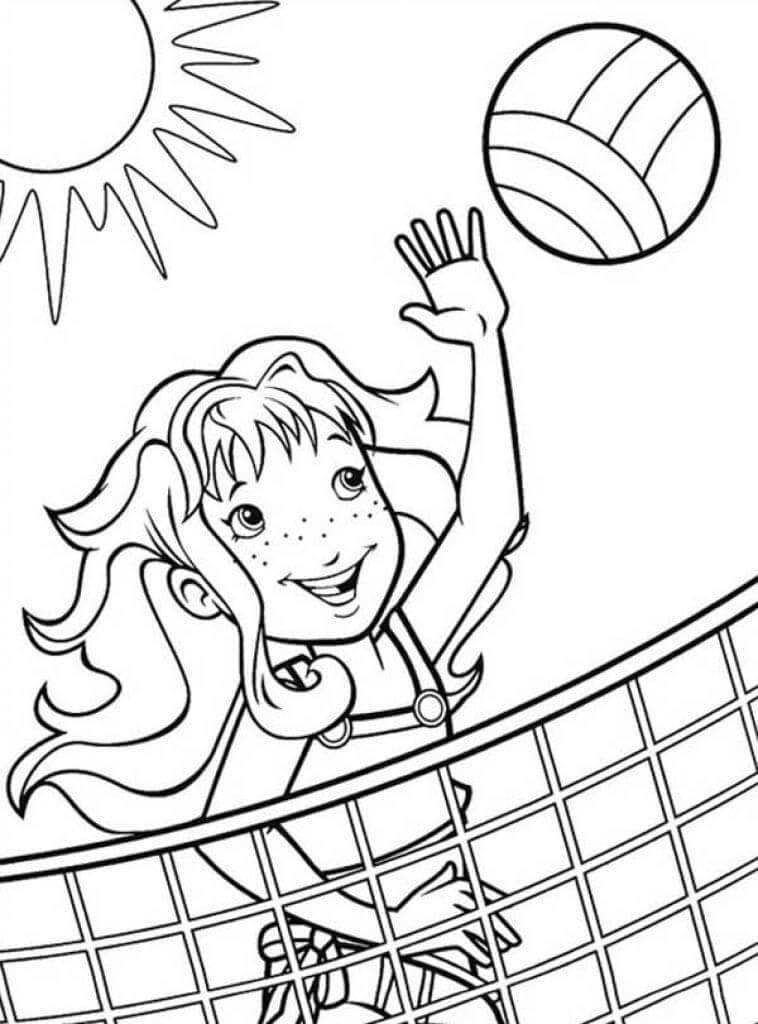 Раскраска девушка играет в волейбол 6