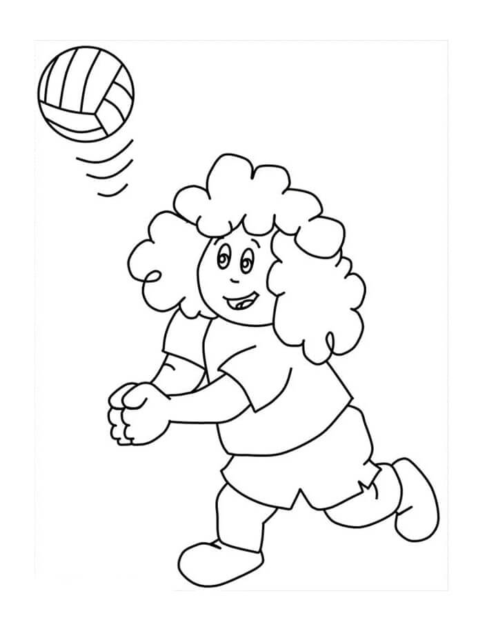Раскраска девушка играет в волейбол