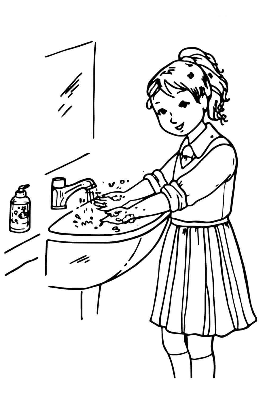 Раскраска Девочка моет руки