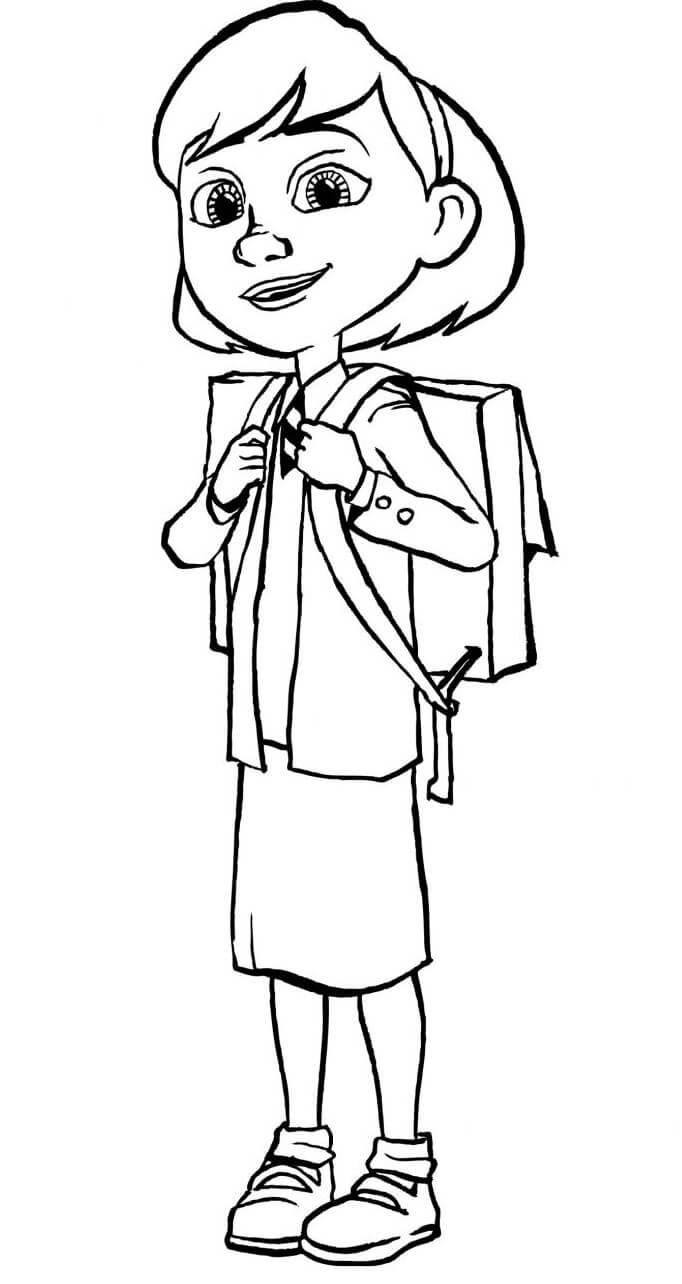 Раскраска Девочка с портфелем