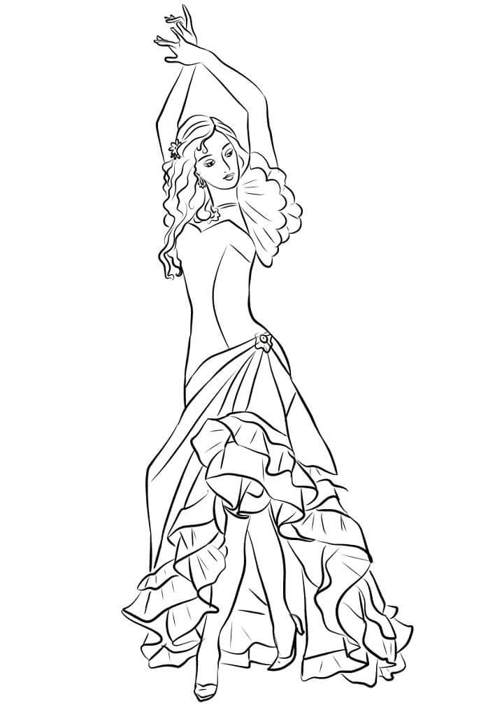 Раскраска Девушка, танцующая фламенко