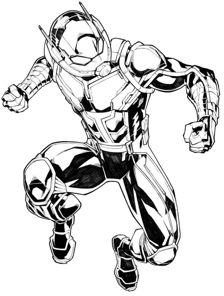 Раскраска действие Человек-муравей 5