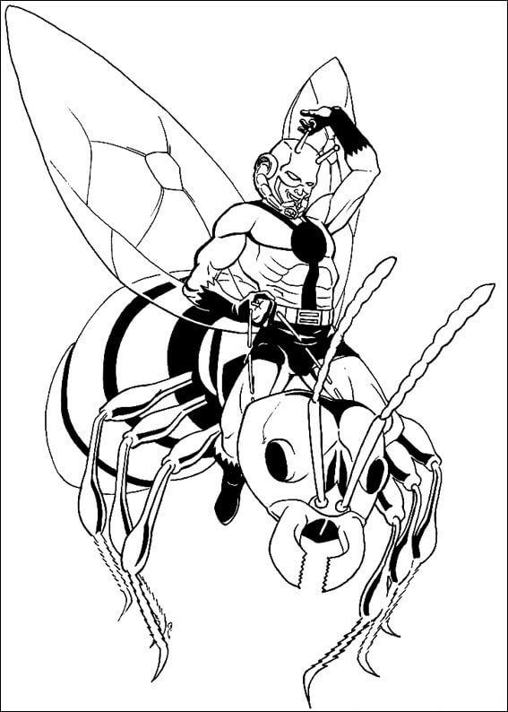 Раскраска действие Человек-муравей