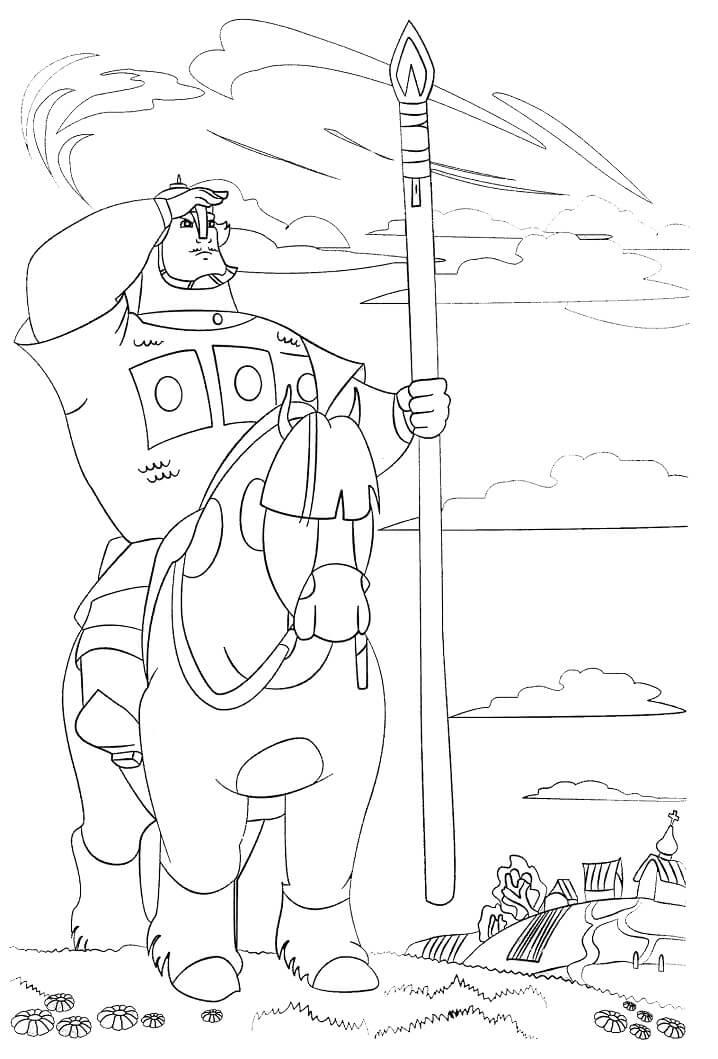 Раскраска Добрыня Никитич и Змей Горыныч 1