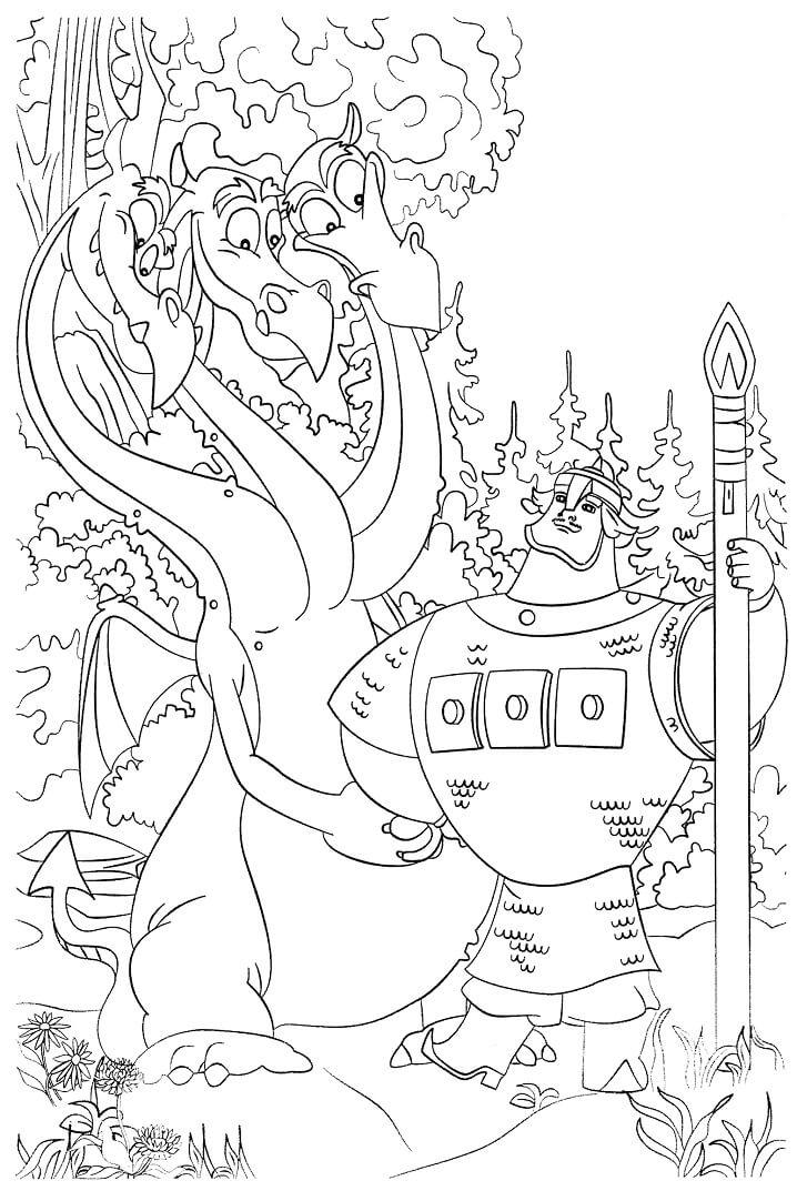 Раскраска Добрыня Никитич и Змей Горыныч 10