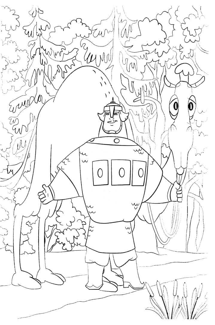 Раскраска Добрыня Никитич и Змей Горыныч 11