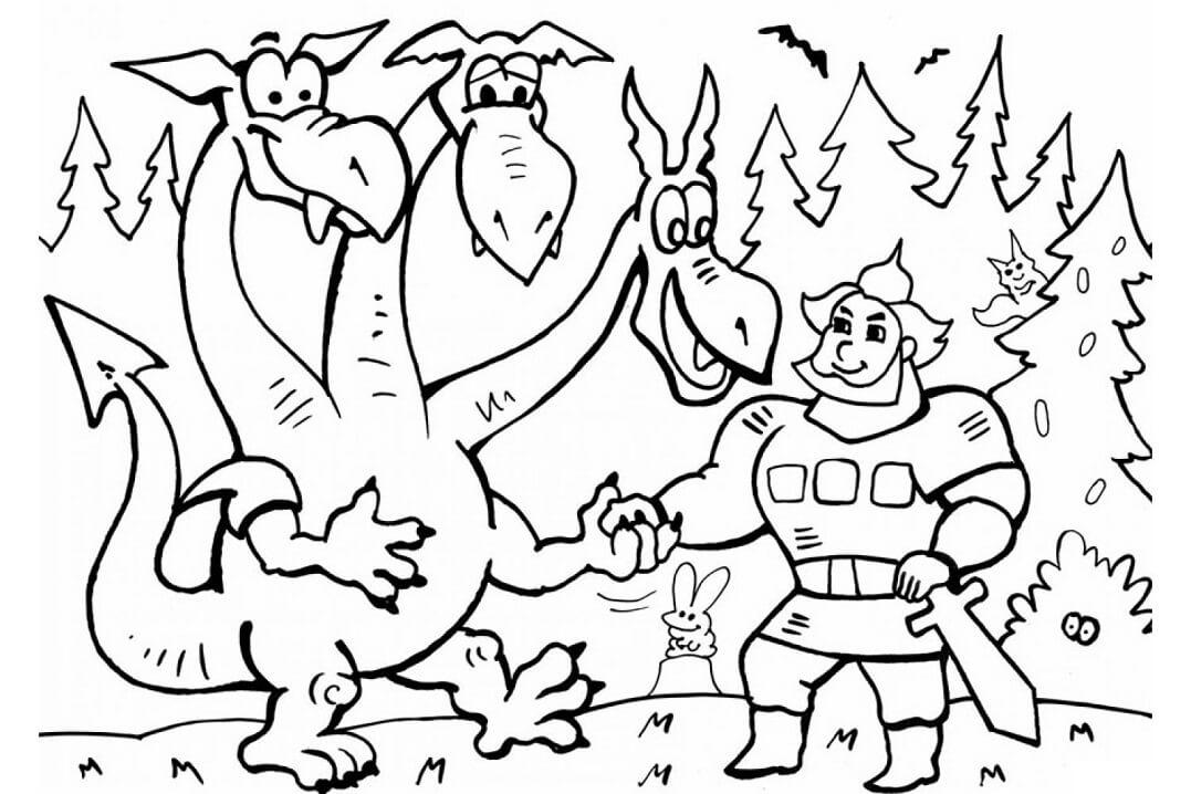 Раскраска Добрыня Никитич и Змей Горыныч 16
