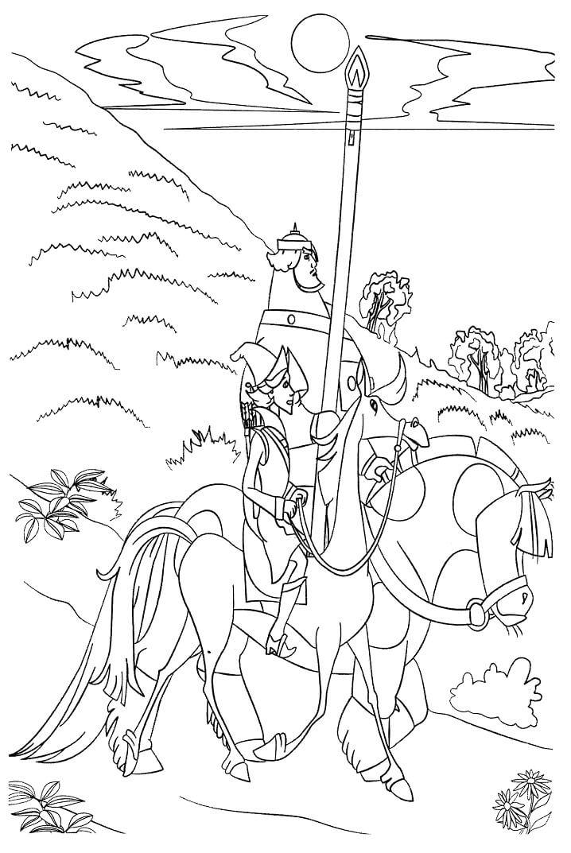 Раскраска Добрыня Никитич и Змей Горыныч 3