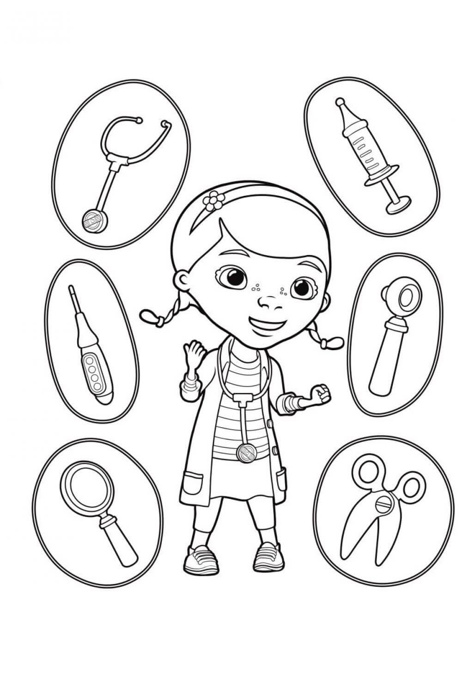 Раскраска Доктор Плюшева с инструментами
