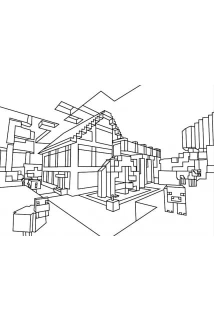 Раскраска Дом из Майнкрафт