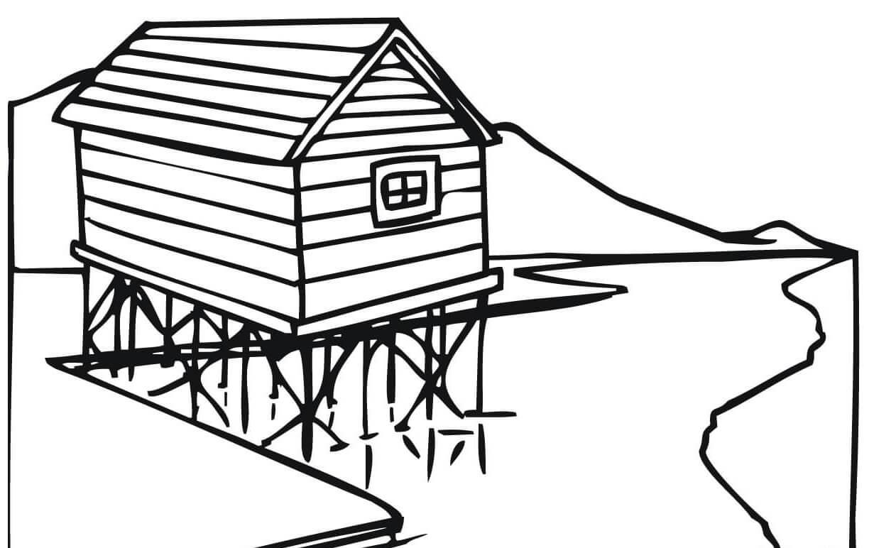 Раскраска Дом на сваях