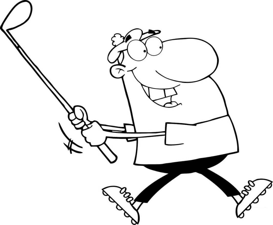 Раскраска Довольный гольфист