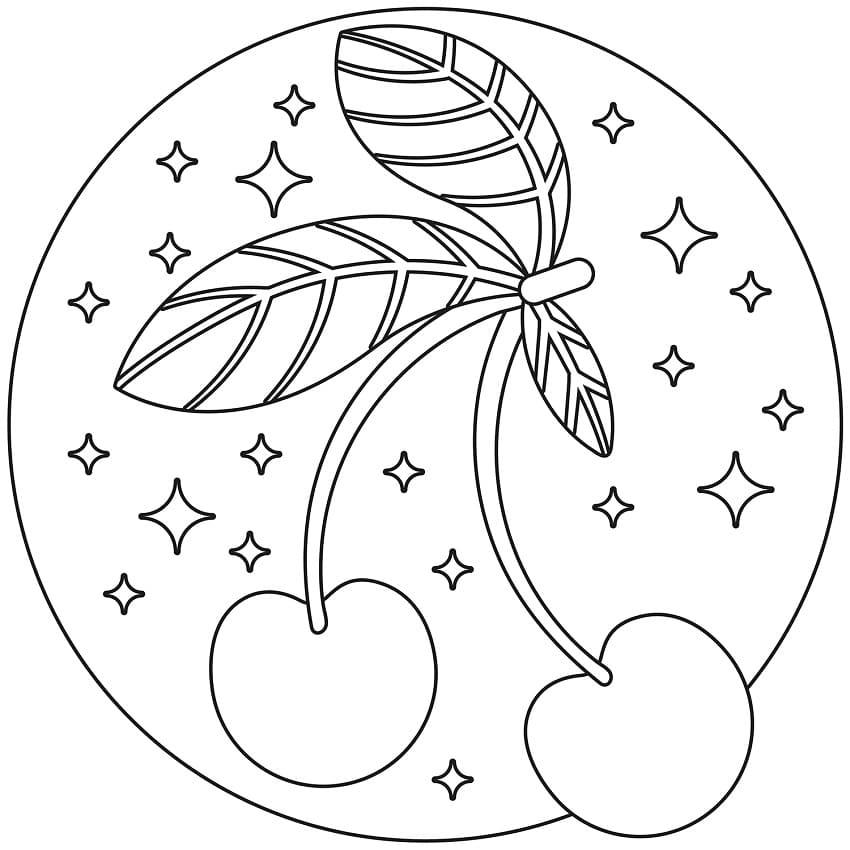 Раскраска две вишни 7