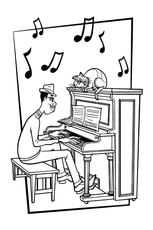 Раскраска Джо Гарденер, кот и пианино (Дисней, Соул)