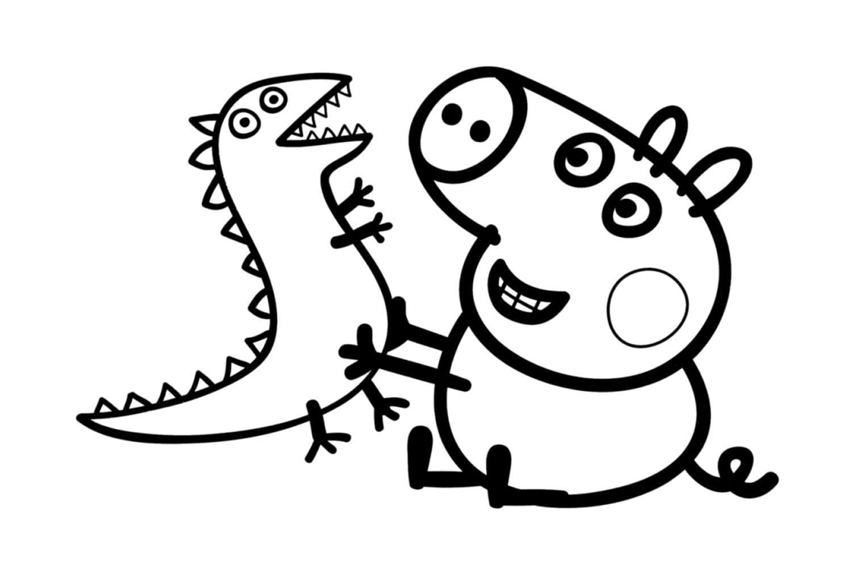 Раскраска Джордж и динозаврик