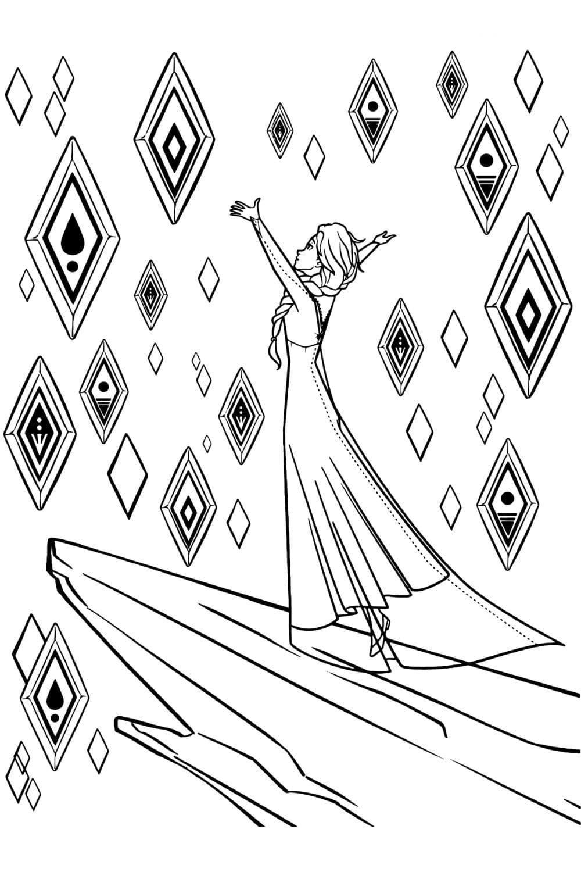 Раскраска Эльза и кристаллы стихий