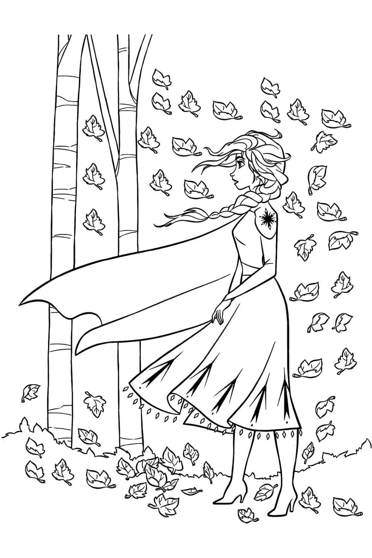 Раскраска Эльза и листья