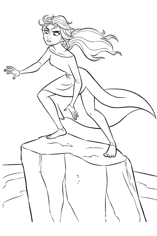 Раскраска Эльза на льдине