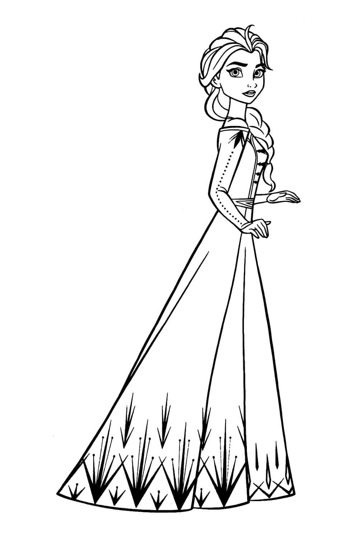 Раскраска Эльза в красивом платье