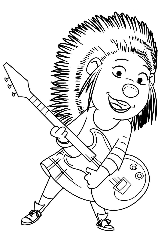 Раскраска Эш с гитарой