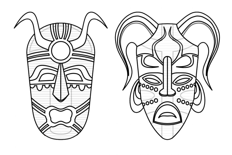 Раскраска Этнические маски