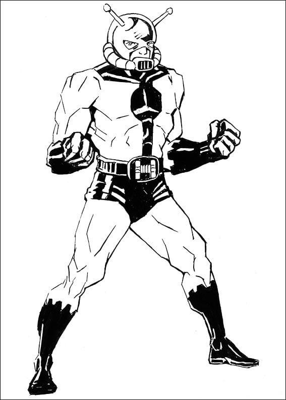 Раскраска фантастический Человек-муравей 3