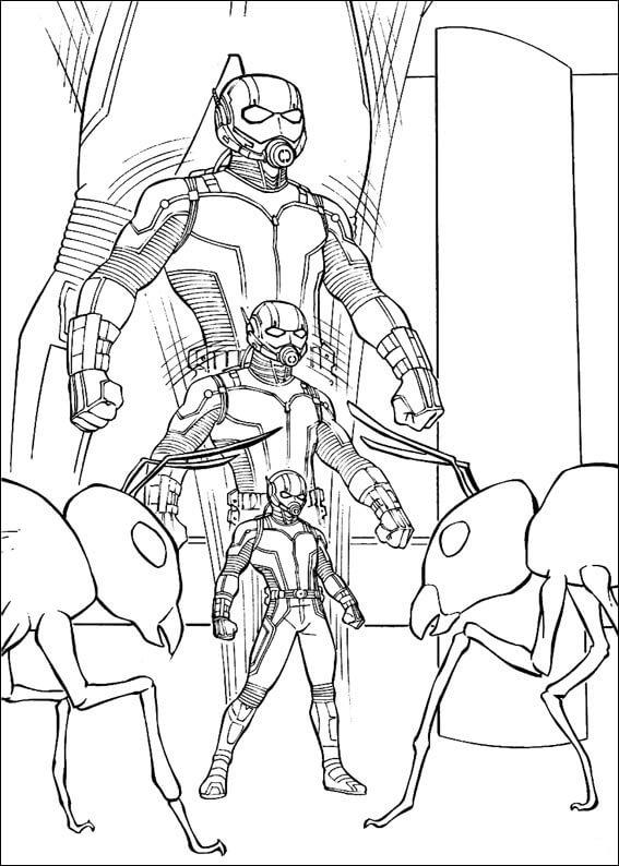 Раскраска фантастический Человек-муравей 4