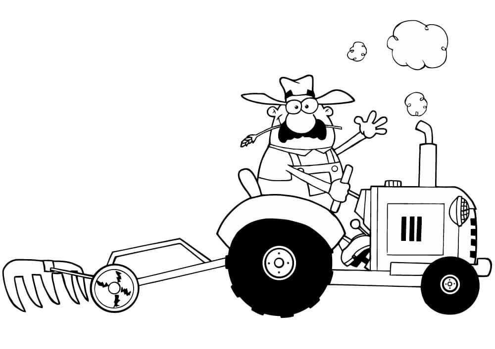 Раскраска фермер и трактор 2