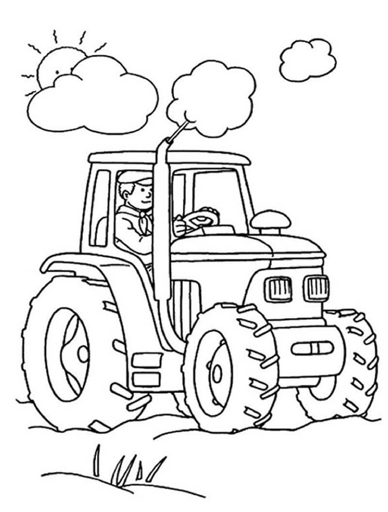Раскраска фермер и трактор 3
